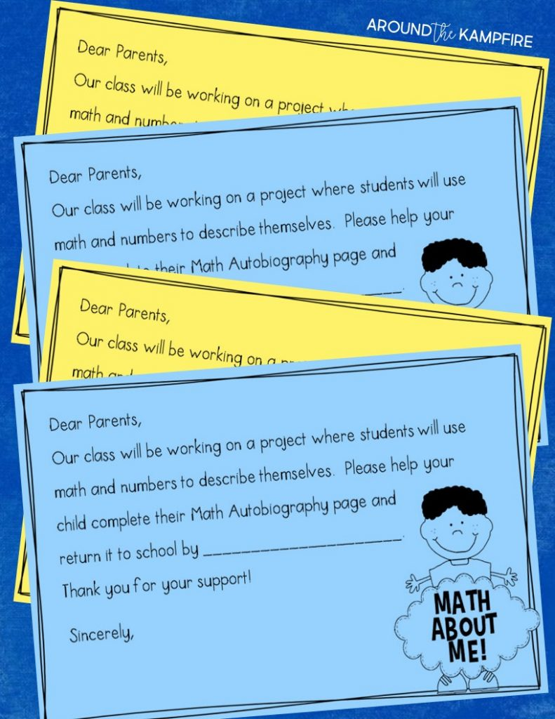Math About Me, a perfect back to school activity for getting to know you through math! Students complete a math autobiography page then use the information to describe themselves using math! Such a fun, first week of school activity or as a family math night craft and bulletin board.