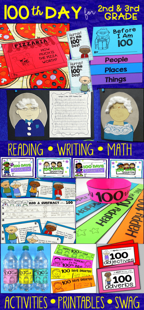Celebrate the 100th Day of school with activities for reading, 100th day writing, and math tasks made especially for 2nd and 3rd grade.
