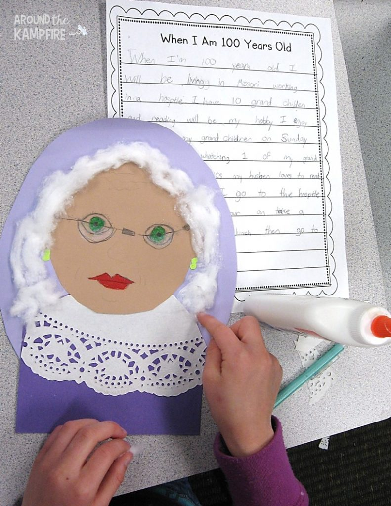 Making 100th day writing portraits