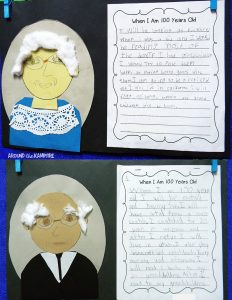 100th day writing portraits