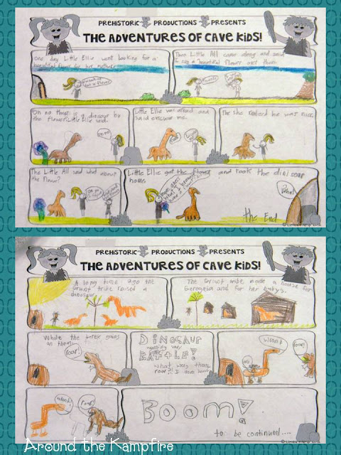 Activities for teaching with Little Grunt and the Big Egg by Tomie dePaola. Writing Cave Kids comics!
