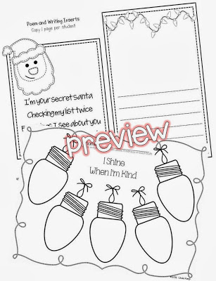 Christmas Kindness Kit prewriting pages