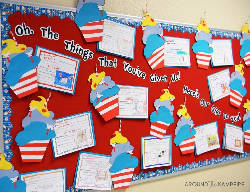"""Literacy Week bulletin board idea- Writing about what an author has given us as readers and a gift we'd like to give in return. We even """"baked"""" him a birthday cupcake! The cupcakes can also be a foldable booklet."""