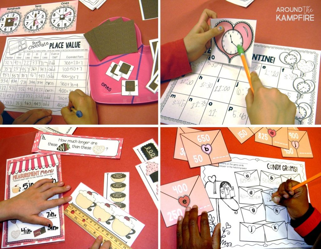 Valentines's Day classroom ideas for 1st, 2nd and 3rd grade. Download FREE valentines for students and the free printable measurement math activity page ideal for a Valentine math party.