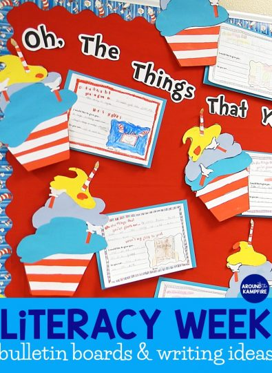 Literacy week ideas- Dr. Seuss themed writing activities, door decorations, and bulletin board ideas for Read Across America and Dr. Seuss week.