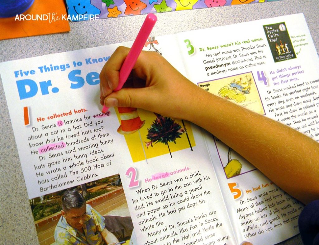 Literacy Week idea- Finding present and past tense verbs in Scholastic Magazine article about Dr. Seuss.