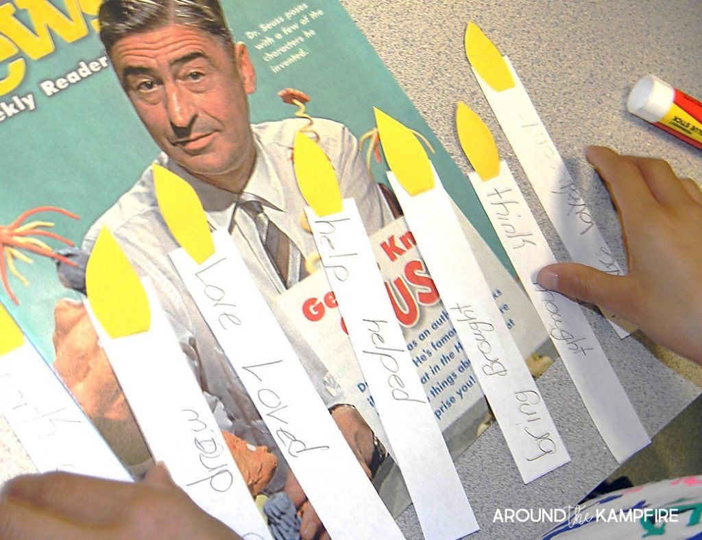 Literacy Week idea- Finding present and past tense verbs in Scholastic Magazine article about Dr. Seuss. We wrote them on birthday candles to add to our door decoration, a giant Seuss cupcake!