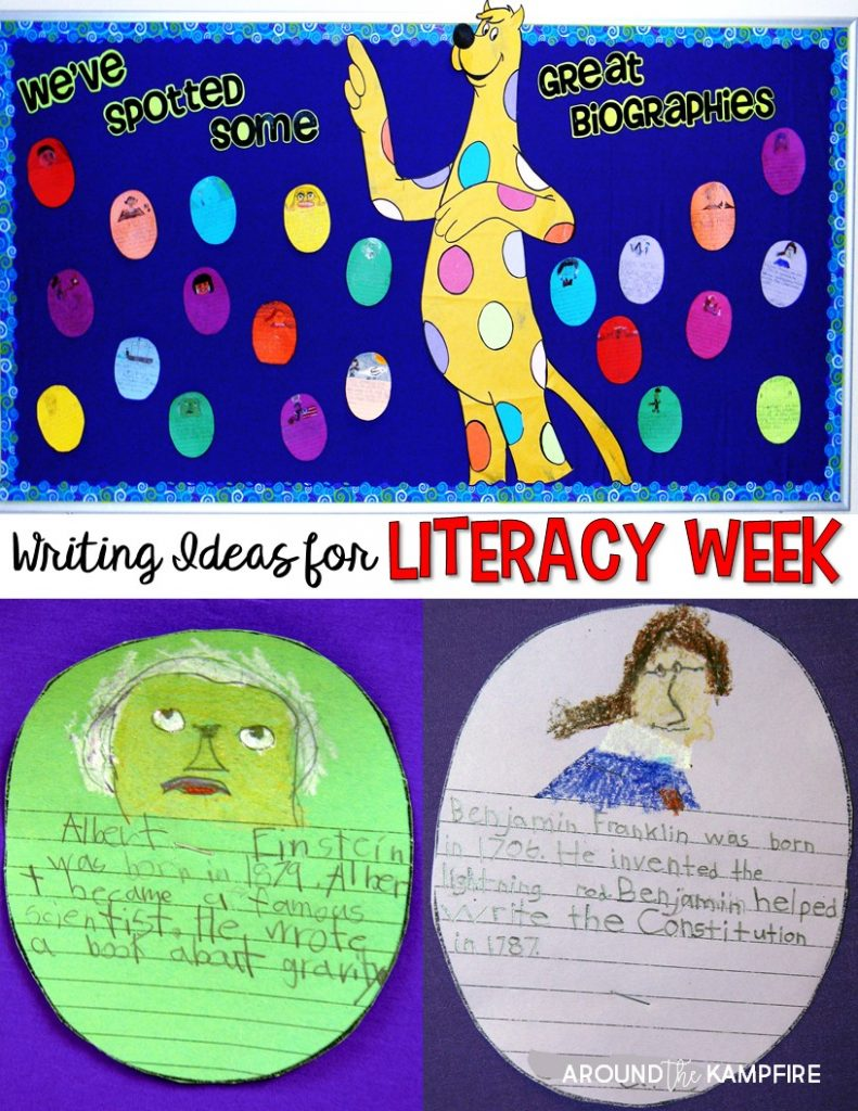 Writing ideas and bulletin boards for literacy week