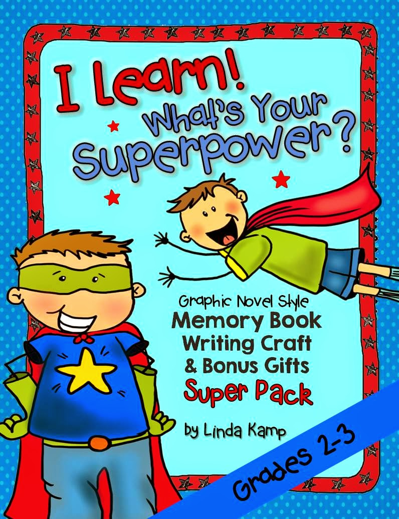 Superhero memory book bundle with memory books and writing craft for 2nd and 3rd grade.