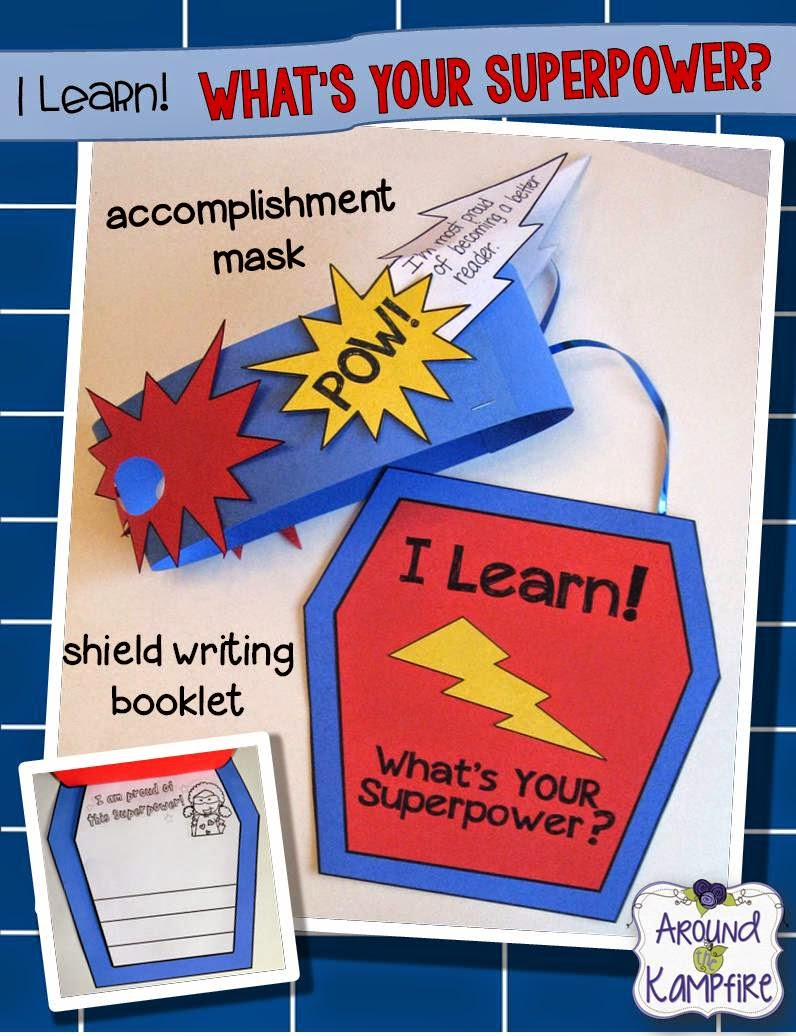 Superhero mask and shield writing craft for kids to set goals and reflect on accomplishments for Kindergarten, 1st, and 2nd grade students.