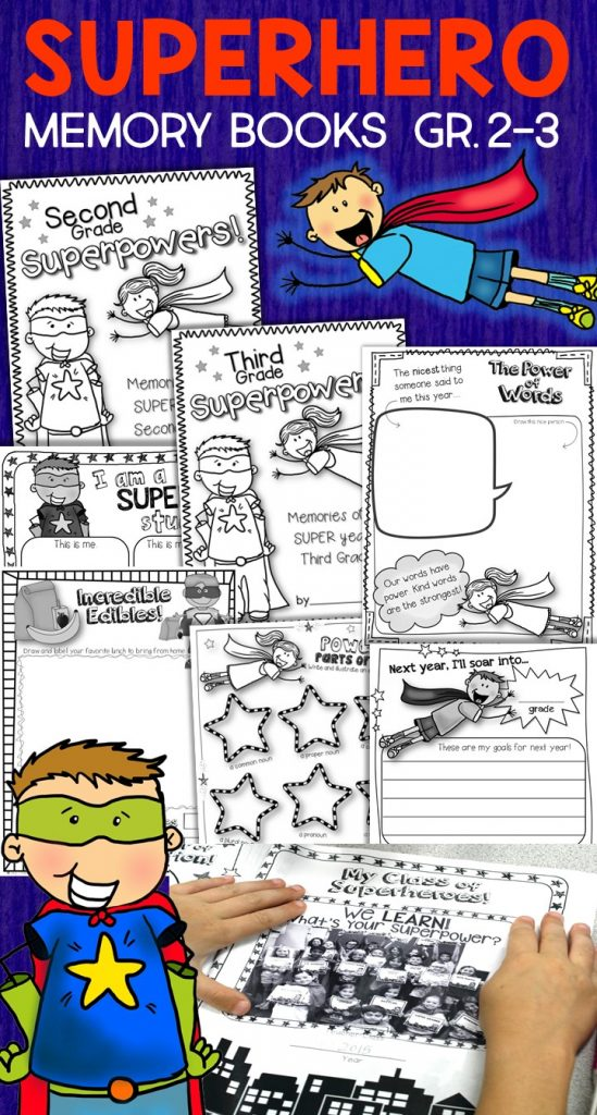 Give your 2nd and 3rd grade students an end of year, superhero send-off! Kids love the graphic novel style design of the activities in these superhero memory books. Filled with activities for students to write about their year and their learning superpowers, plus a focus on the power of our words, kindness, friendship, and respect. Perfect for that last crazy week of school and a great addition to your superhero classroom. Add the second grade or third grade cover for a memory book or spread them out and use as printables. Superhero memory books for second and third grade. Also available in a bundle with superhero craft and superhero themed student and volunteer gifts.