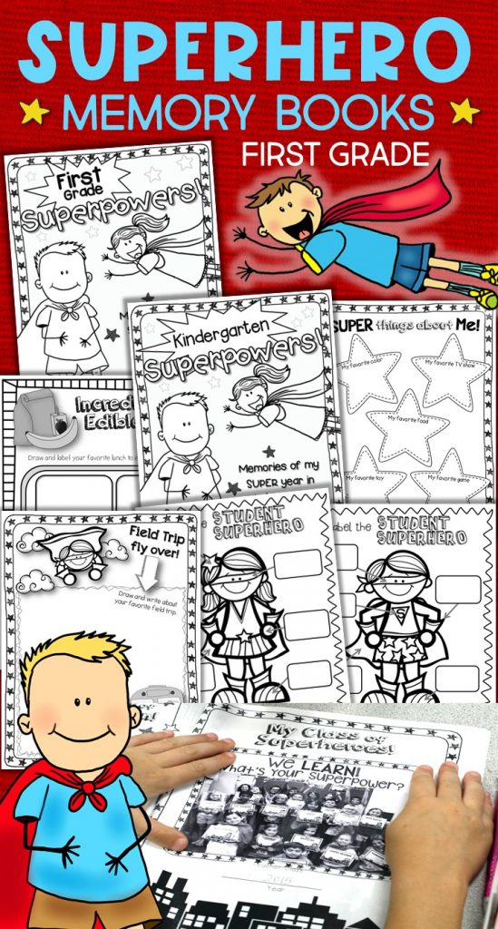 Give your Kindergarten or 1st grade students an end of year, superhero send-off! Kids love the graphic novel style design of the activities in these superhero memory books. Filled with activities for students to write about their year and their learning superpowers, plus a focus on the power of our words, kindness, friendship, and respect. Perfect for that last crazy week of school and a great addition to your superhero classroom. Add the Kindergarten or first grade cover for a memory book or spread them out and use as printables. Superhero memory books for 1st grade.  Also available in a bundle with superhero craft and superhero student and volunteer gifts.