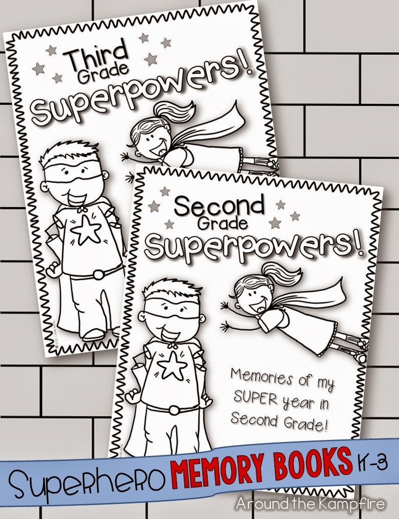 Superhero end of year memory books for second and third grade | Around the Kampfire