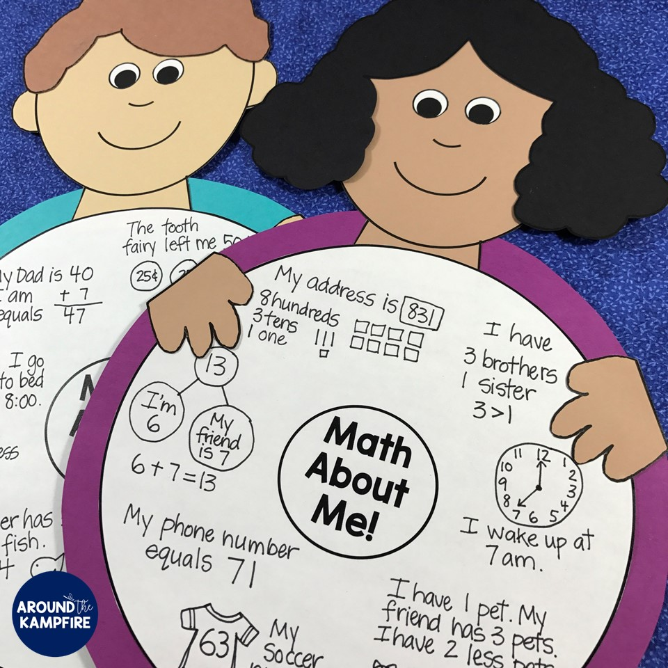 Math About Me -A getting to know you activitiy where students define themselves using math! Ideal for family math night too!