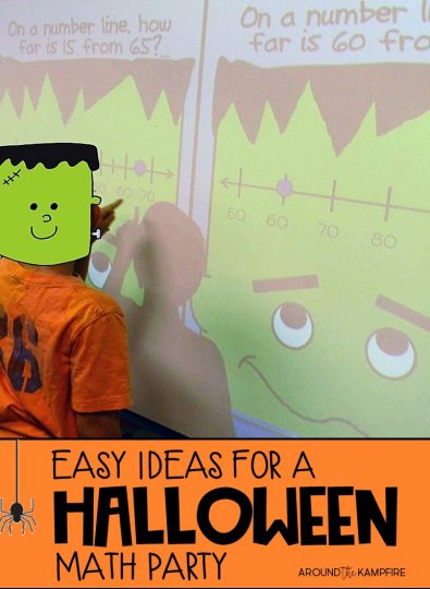 Try these easy ideas for a Halloween math party perfect for 2nd and 3rd grade! We practiced second and third grade math skills with pumpkins, spooky math center activities, and candy as place value manipulatives. #halloween #math #2ndgrade #3rdgrade