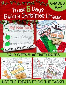5 Days Before Christmas Coundown Activities for Kindergarten and First Grade.