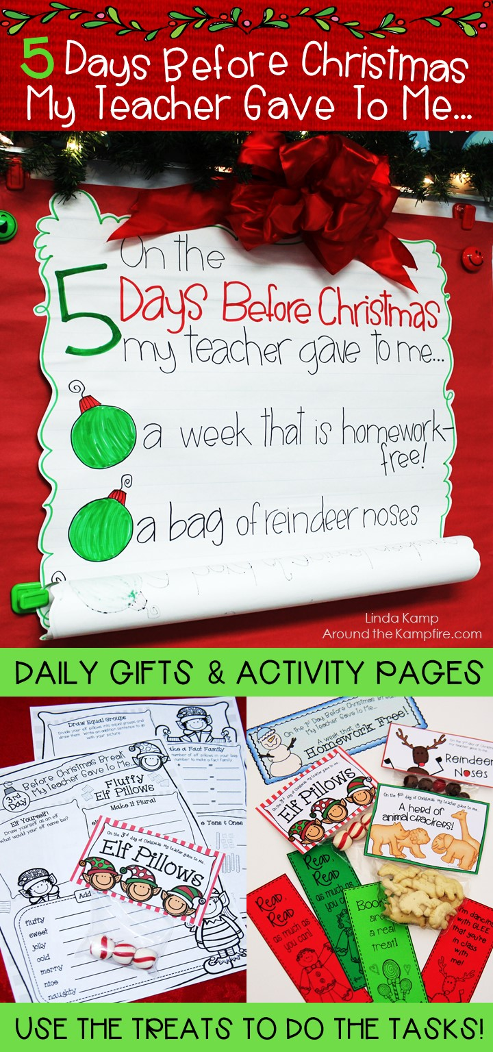 Christmas Break countdown! 5 Days before Christmas or winter break activities  with daily treats to do the tasks!