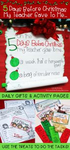 Christmas or winter break countdown activity pages with daily gifts for 2nd and 3rd grade