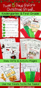 Christmas countdown activity pages with roll down chart and daily gifts for Kindergarten & First Grade