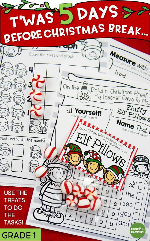 Need something to keep your first graders engaged and still learning that last CraZy week before Christmas or Winter Break? See how I made a Christmas break countdown anchor chart and surprised my students with simple daily gift/treats each day. They use the treats to do the tasks! Worked like a charm! Ideal for the last week before break in 1st grade. #firstgrade