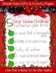 5 Days before Christmas countdown classroom activities anchor chart
