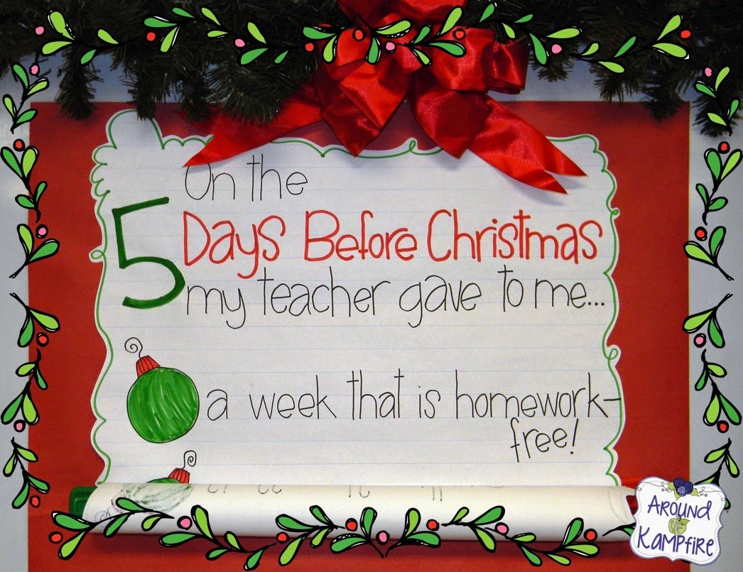 Countdown until Christmas break classroom chart with daily printables and matching student gifts!