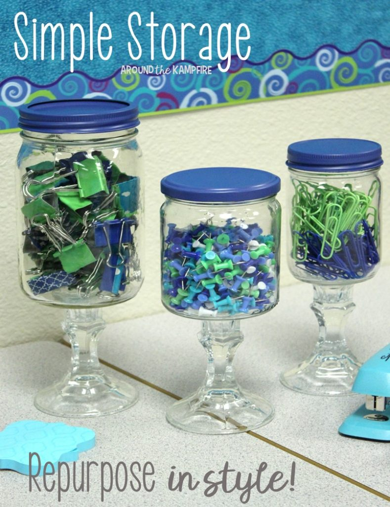 Apothecary jars for the classroom- Office supply storage with repurposed glass or plastic jars.