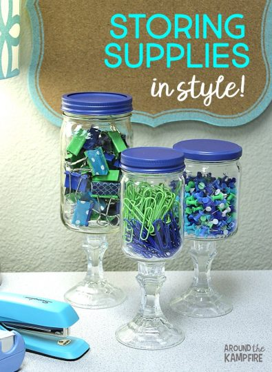 Apothecary jars for the classroom office supply storage