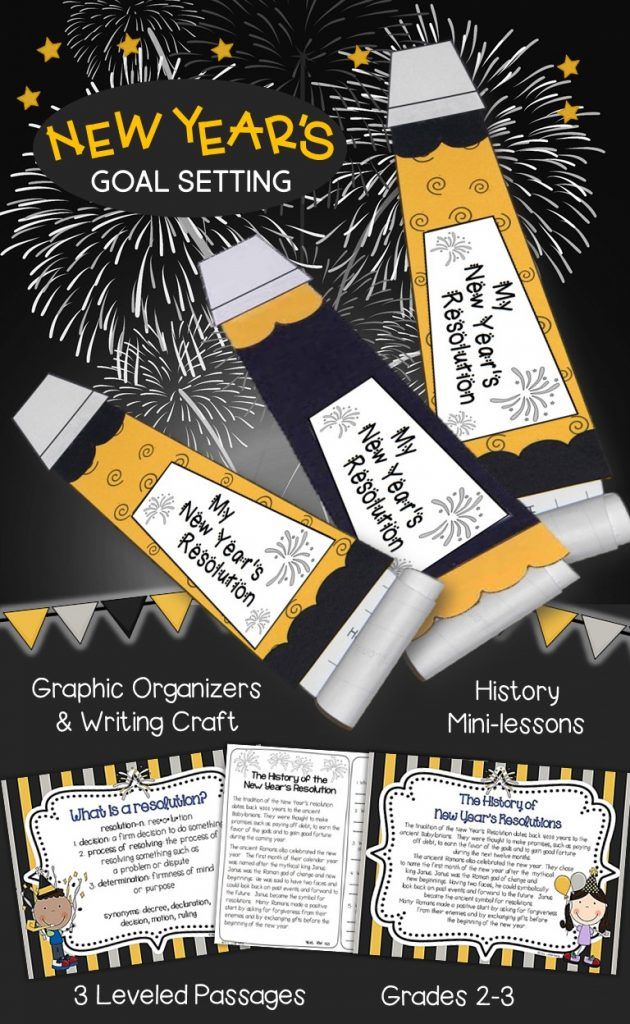 New Year's goal setting and resolution writing activities. Teach students the history of celebrating, define a resolution, then have them write some of their own!