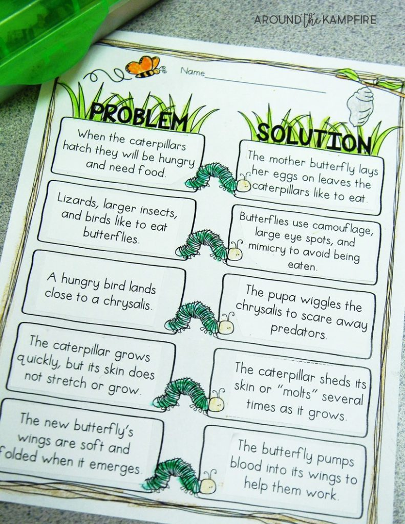 Butterfly life cycle activities-Problem solution to incorporate reading skills while learning about butterflies.