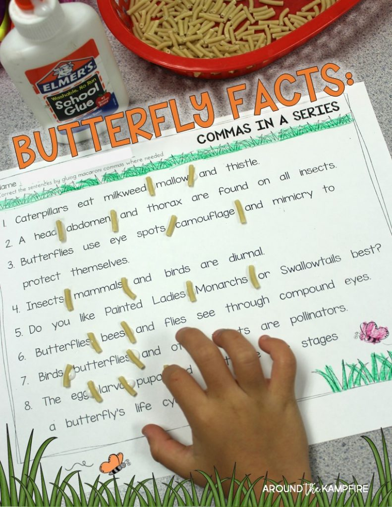 FREE butterfly life cycle activity page-Commas in a series with butterfly facts