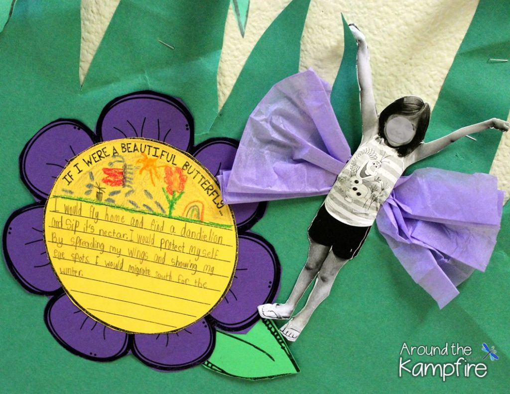 FREE butterfly Kids writing craft template.