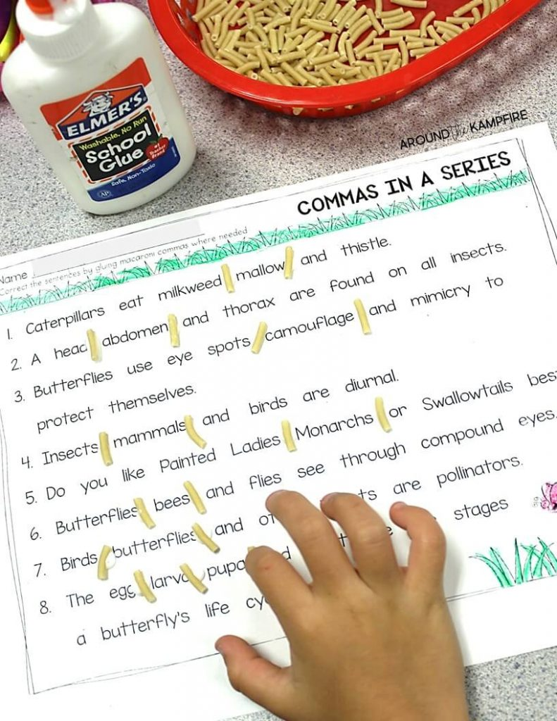 FREE Butterfly facts commas in a series activity.