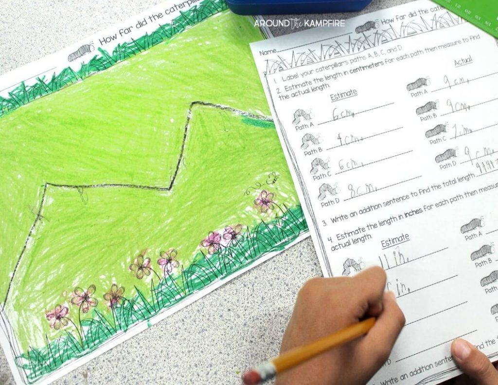 Butterfly math measurement activity-Measuring paths the caterpillar crawled. A fun way to integrate math during you butterfly life cycle activities.