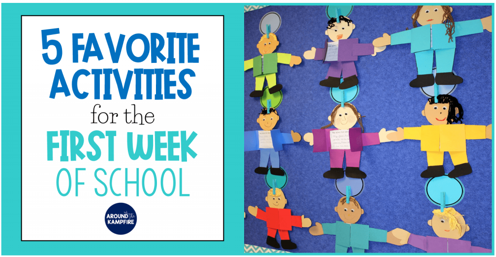 5 Favorite activities for the first week of school. First, second, and third grade students will love these gsetting to know you games, icebreakers, first day phot booth cards and back to school craft ideas!