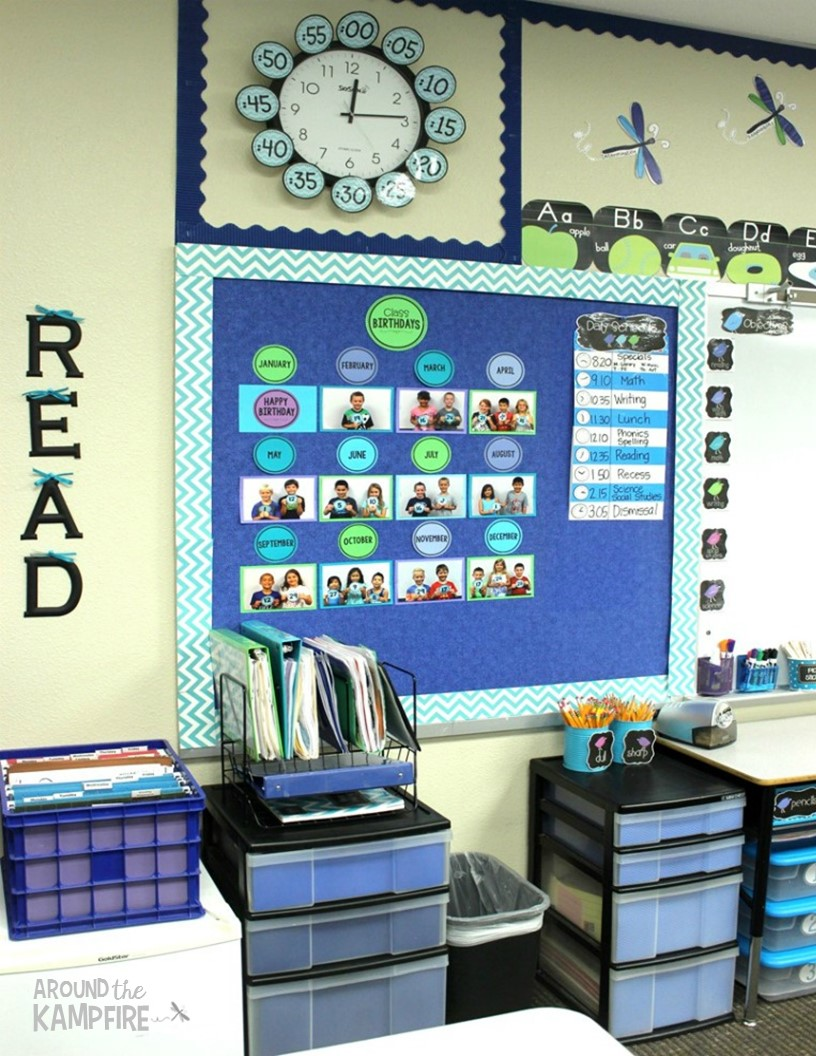 Blue classroom decor: birthday wall and supply organization
