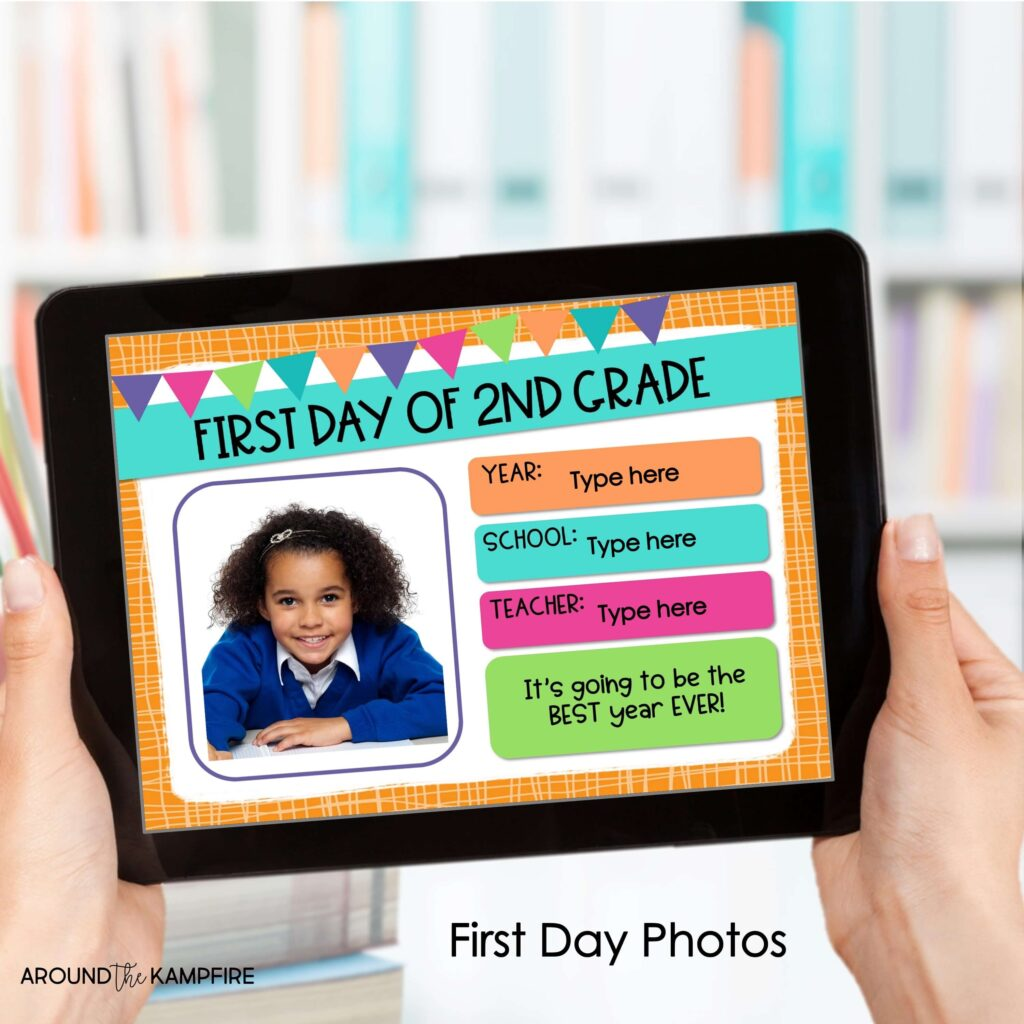 Digital first day of school students photo page