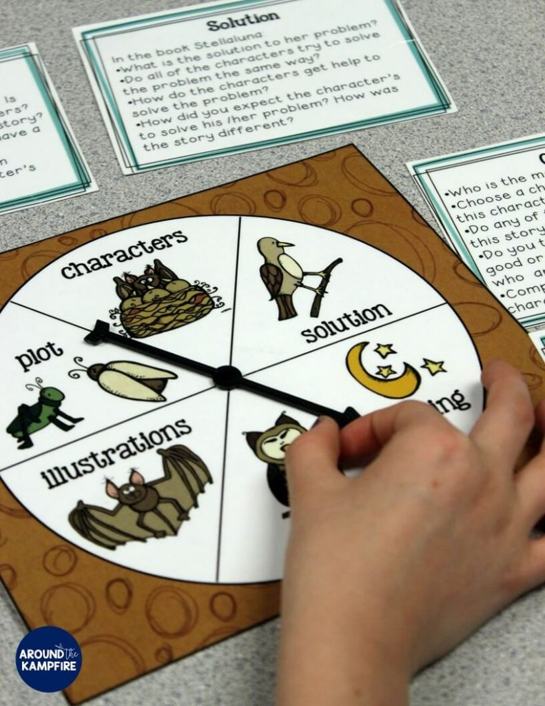 Stellaluna teaching activities- Critical thinking task cards for working with story elements. Perfect for a literacy center.