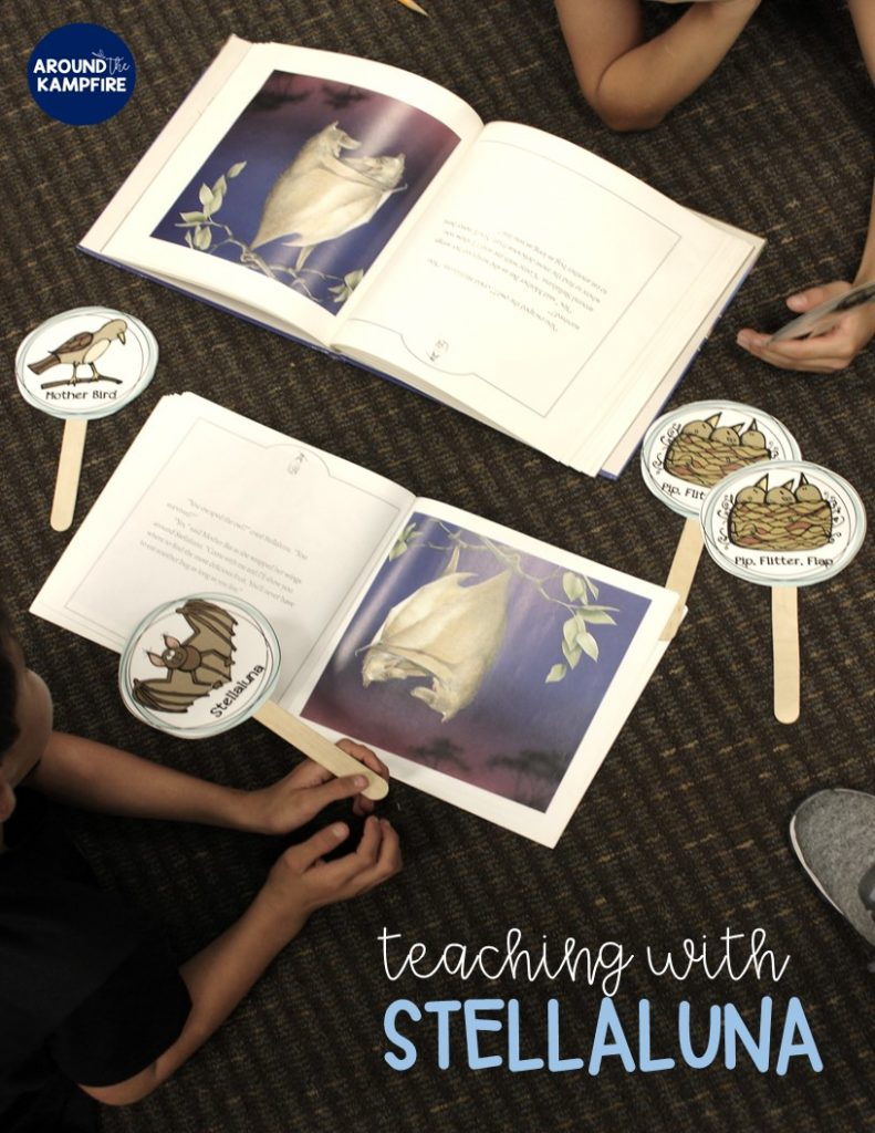 Stellaluna teaching activities-Building reading fluency with character sticks.