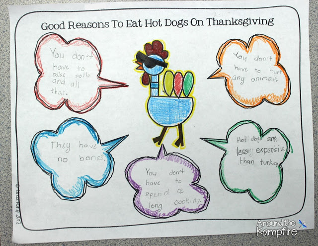 Brainstorming good reasons to eat hot dogs on Thanksgiving!