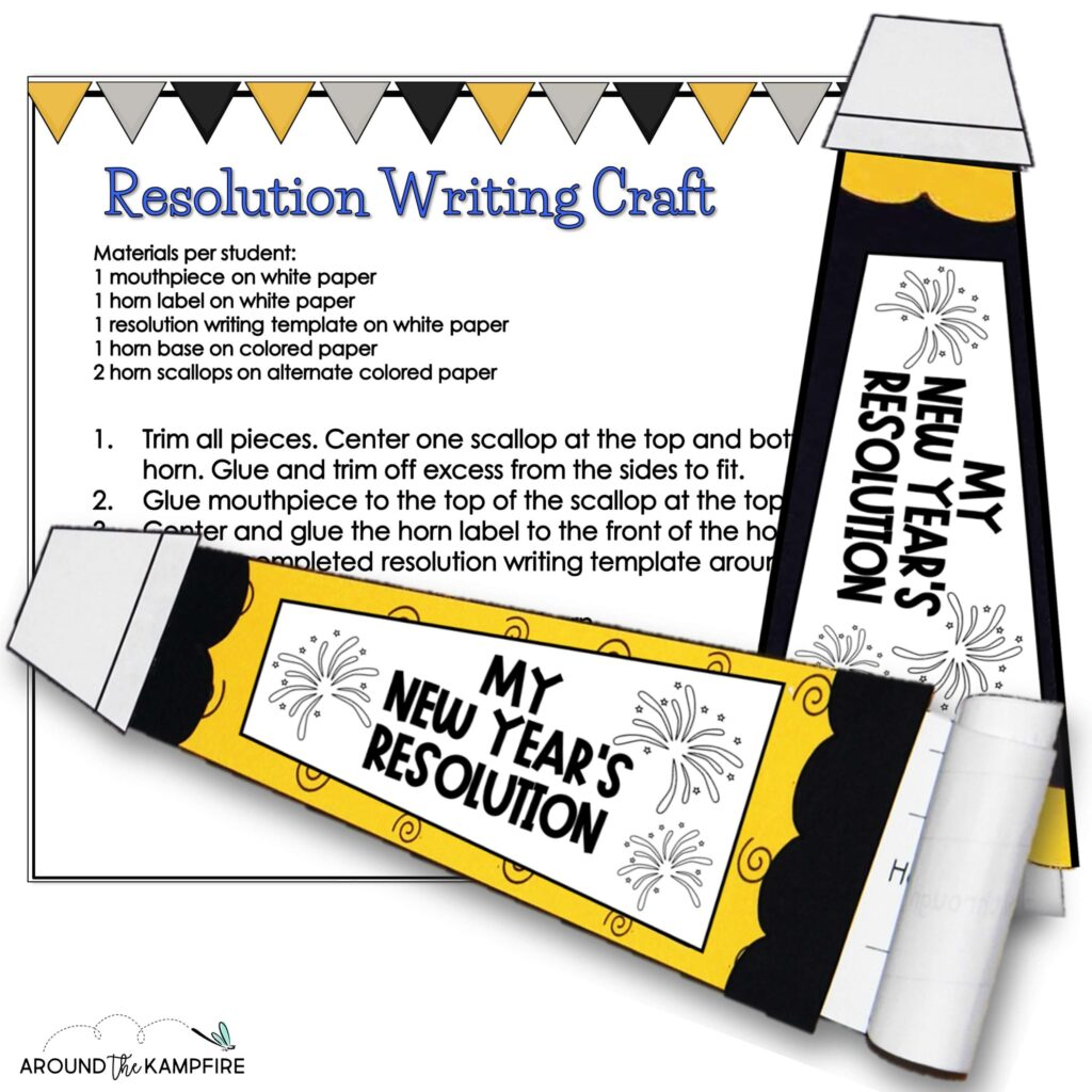 new years resolution party horn craft for kids