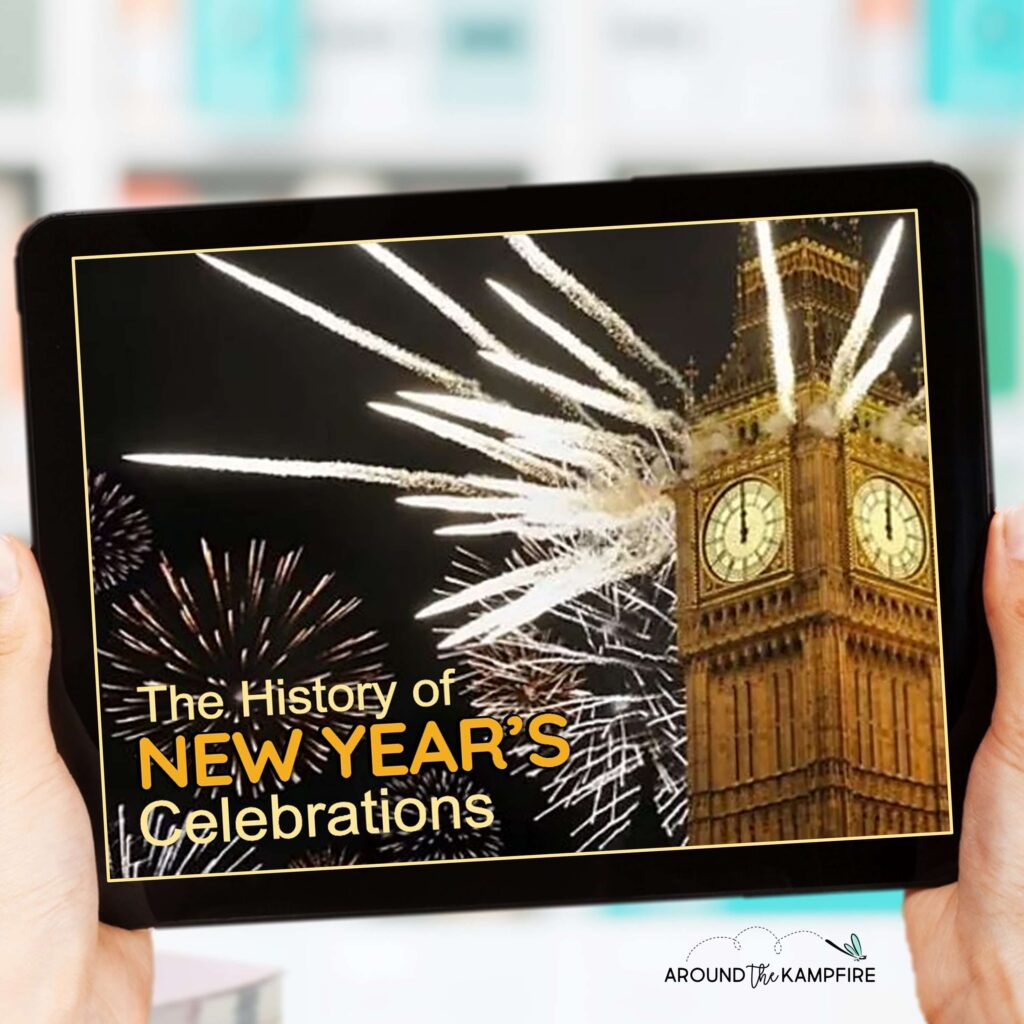 digital virtual New Years activities for the classroom on tablet
