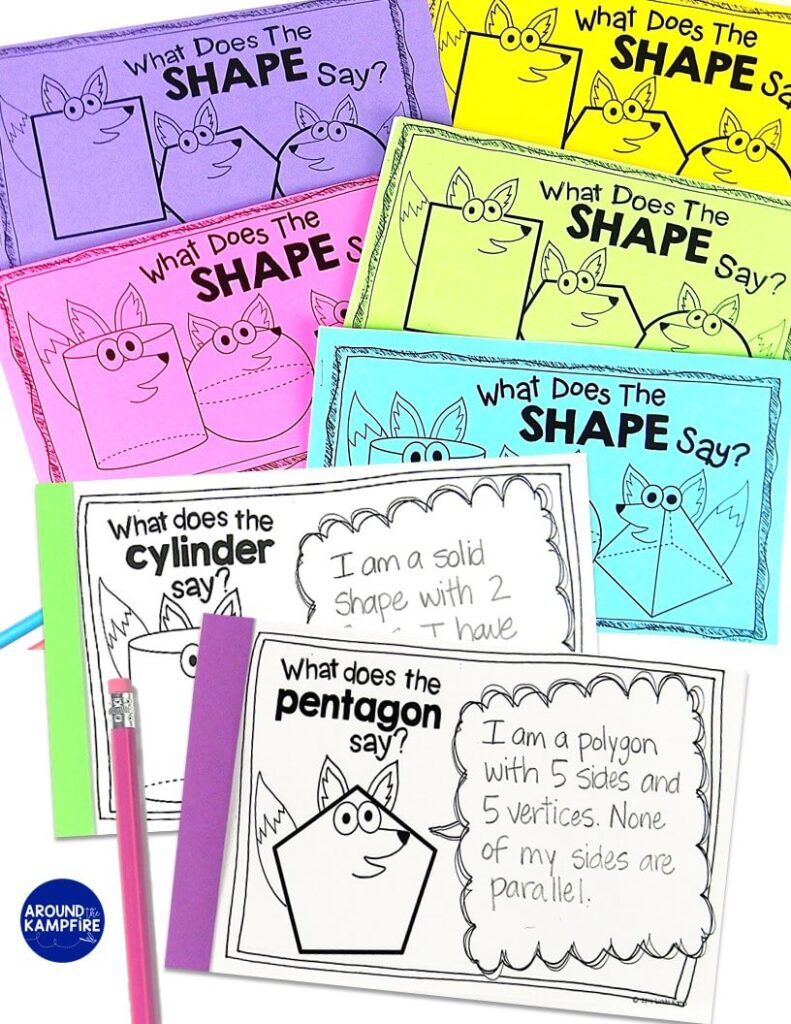 Attributes of 2D and 3D shapes worksheets booklets. What does the Shape say?