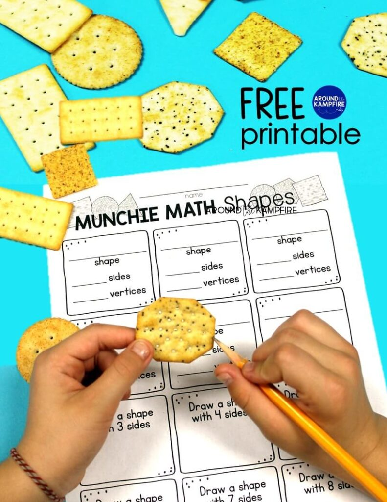 Free shapes printable for munchie math and learning shapes and their attributes.