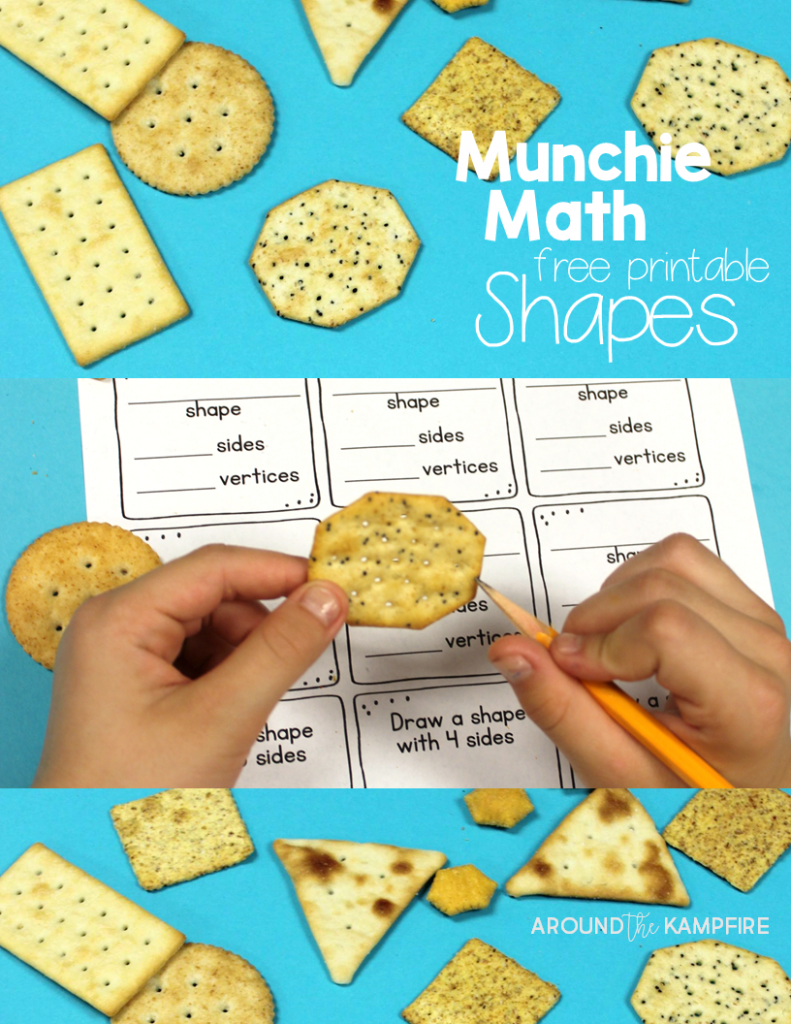 Fun ways to teach shapes! Free munchie math shapes printable.