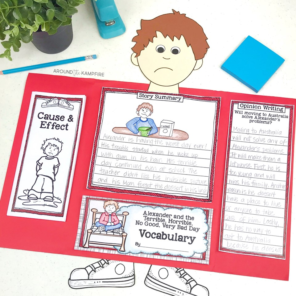 Alexander and the Terrible, Horrible, No Good, Very Bad Day foldable lapbook with cause and effect activities.