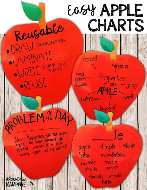 Easy Charts for Apple Activities & Free Math Printable