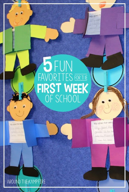 Looking for something a little different for your first week back to school? These 5 first week favorites include fun ideas and books students love for back to school goal setting, all about me math activities, first day writing, getting to know you and your teacher, and fun ideas for a first day of school photo booth! #backtoschool #firstdayofschoolideas #backtoschoolactivities #firstgrade #secondgrade #thirdgrade #backtoschoolcrafts #classroomideas