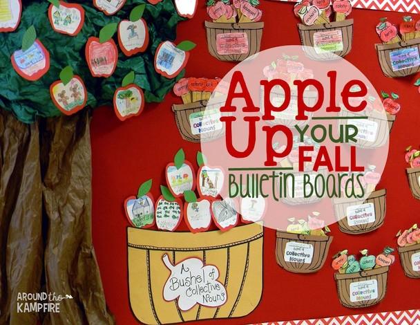 Fall bulletin board ideas with an apple theme.