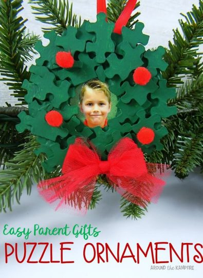 Easy parent Christmas gifts puzzle piece ornaments
